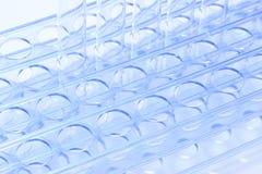 Grupo de laboratorio vacío del tubo de cristal en soporte del acero inoxidable Fotos de archivo