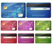 Grupo de lados realísticos do cartão de crédito dois isolados sobre Foto de Stock Royalty Free