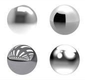 Grupo de las bolas del cromo en el fondo blanco libre illustration
