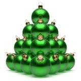 Grupo de las chucherías del verde del ` s Eve del Año Nuevo de la pirámide de las bolas de la Navidad Fotos de archivo
