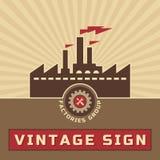 Grupo de las fábricas - vector Logo Sign del vintage Imagenes de archivo