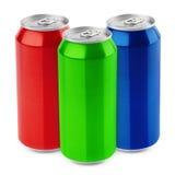 Grupo de latas de cerveza de aluminio foto de archivo