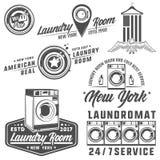 Grupo de lavandaria, de lavanderia, de lavagem automática para emblemas e de projeto Imagens de Stock Royalty Free