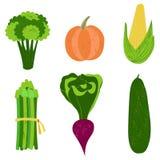 Grupo de legumes frescos, ilustração tirada mão do vetor Dieta, v Imagens de Stock