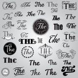 Grupo de lema monocromático no estilo retro ilustração stock
