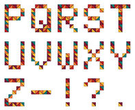 Grupo de 15 letras do alphabeth no estilo geométrico feito do colorf ilustração stock