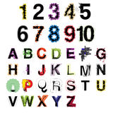 Grupo de letras e de números decorativos modernos coloridos do alfabeto do vetor artístico Imagem de Stock Royalty Free