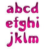 Grupo de letras pequenas cor-de-rosa do alfabeto do gel e do caramelo isoladas em w ilustração royalty free