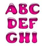 Grupo de letras principais cor-de-rosa do alfabeto do gel e do caramelo isoladas sobre ilustração stock