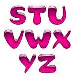 Grupo de letras principais cor-de-rosa do alfabeto do gel e do caramelo isoladas sobre ilustração do vetor