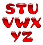 Grupo de letras principais vermelhas do alfabeto do gel e do caramelo isoladas sobre Imagens de Stock Royalty Free