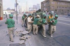 Grupo de limpeza urbano Fotos de Stock Royalty Free