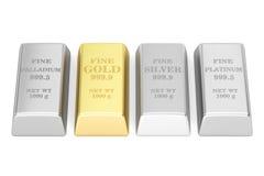 Grupo de lingotes monetários dos metais, rendição 3D Fotos de Stock