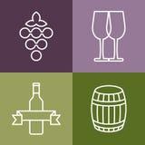 Grupo de linha ícones ajustados A garrafa, a uva e o vidro de vinho vector o logotipo Foto de Stock