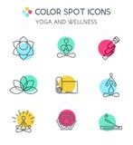 Grupo de linha ícones da ioga Imagens de Stock Royalty Free