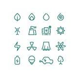 Grupo de linha ícones das fontes de energia Pictograma da energia alternativa do vetor Fotos de Stock Royalty Free