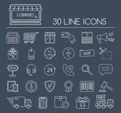 Grupo de linha ícones do comércio eletrônico Alinhe ícones para o negócio, o desenvolvimento da Web e a página da aterrissagem Pr Imagem de Stock Royalty Free