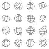 Grupo de linha ícones do globo do vetor ilustração royalty free