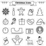 Grupo de linha ícones do Natal isolados Fotos de Stock Royalty Free