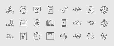 Grupo de linha ícones do vetor da aptidão Contém ícones como o ciclismo, esporte de Kettlebell, bola de futebol, pulsação do cora ilustração royalty free