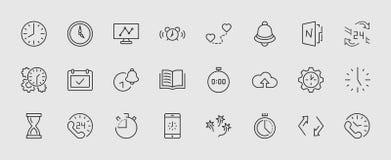 Grupo de linha ícones do vetor do tempo Contém ícones como o temporizador, a velocidade, o alarme, a restauração, a gestão de tem ilustração royalty free