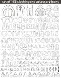 Grupo de linha ícones da roupa Imagens de Stock Royalty Free