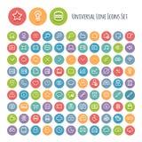 Grupo de linha ícones universais redondos Fotos de Stock Royalty Free