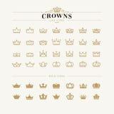 Grupo de linha da coroa e de ícones corajosos