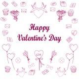 Grupo de linha de amor ícone Ilustração do vetor Imagens de Stock Royalty Free
