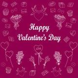Grupo de linha de amor ícone Ilustração do vetor Fotos de Stock Royalty Free