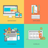 Grupo de linha de cor ícones no tema da Web e do projeto gráfico, mercado do Internet Imagens de Stock