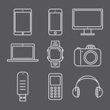 Grupo de linha de imagens dispositivos Imagem de Stock Royalty Free