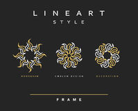 Grupo de linha elegante projeto da arte Elemento do projeto do monograma Imagens de Stock