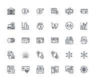 Grupo de linha fina ícones do cryptocurrency ilustração do vetor