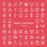 Grupo de linha fina ícones do esboço do feriado do Natal ajustados Fotografia de Stock