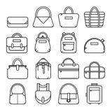 Grupo de linha fina ícones do saco Fotos de Stock