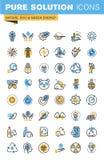Grupo de linha fina ícones lisos do projeto da natureza, do eco e da energia verde Fotos de Stock