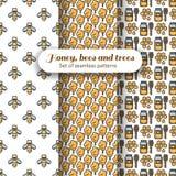 Grupo de linha fina abelha e de ícones do mel Imagens de Stock Royalty Free