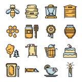 Grupo de linha fina abelha e de ícones do mel Imagem de Stock Royalty Free