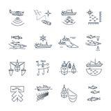 Grupo de linha fina ícones que pescam o processo Foto de Stock