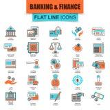 Grupo de linha fina economia dos ícones, operação bancária e serviços financeiros Fotos de Stock Royalty Free