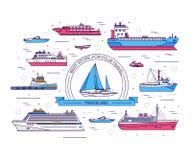 Grupo de linha fina ilustração do vetor do navio Linha fina fundo do navio dos ícones Imagem de Stock