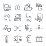 Grupo de linha fina negócio dos ícones, finança, banco Fotografia de Stock Royalty Free
