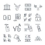 Grupo de linha fina negócio dos ícones, finança, dinheiro Foto de Stock Royalty Free