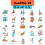 Grupo de linha fina recreação do turismo da natureza dos ícones, acampamento exterior e férias do curso Fotografia de Stock Royalty Free