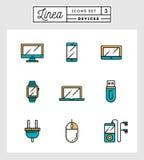 Grupo de linha lisa ícones do projeto de dispositivos Imagem de Stock Royalty Free