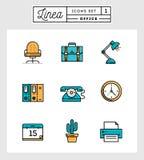 Grupo de linha lisa ícones do projeto de elementos do escritório Imagens de Stock Royalty Free