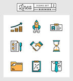 Grupo de linha lisa ícones do projeto de elementos do negócio Fotos de Stock Royalty Free