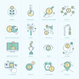 Grupo de linha lisa ícones para a finança Fotografia de Stock Royalty Free