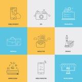 Grupo de linha lisa conceitos dos ícones Fotos de Stock